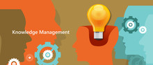 Knowledge Management Concept Idea Lamp Inside Brain Symbol Of Strategy In Managing Human Capital
