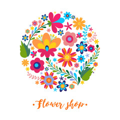 Floral pattern in a circle Mexican ethnic motive.