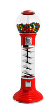 Red Vintage Gumball Dispenser Machine Made Of Glass And Reflecti