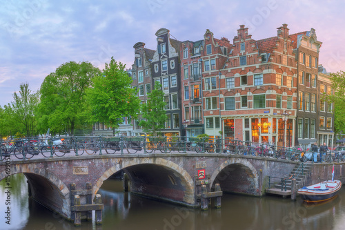 Photo Stands United States Amstel river, canals and night view of beautiful Amsterdam city. Netherlands