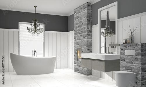 Luxuriöses Modernes Badezimmer Mit Freistehender Badewanne Bathroom