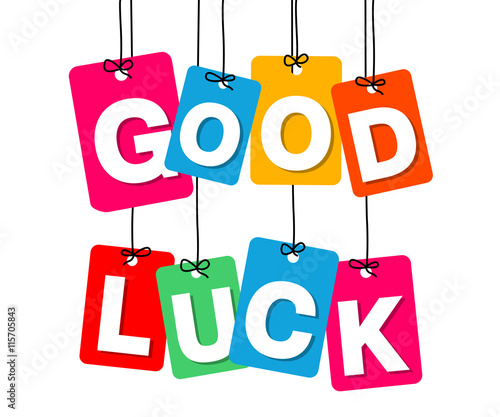 Fotografía  Vector colorful hanging cardboard. Tags - good luck