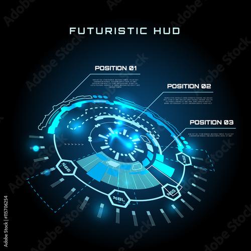 Fotografía  Futuristic interface infographics, HUD,  vector background