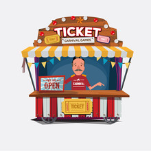 Ticket Cart Or Booth In Carnival Festival. Vintage And Retro Sty