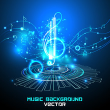 Abstract Shiny Musical Note On Blue Background. Futuristic Vector