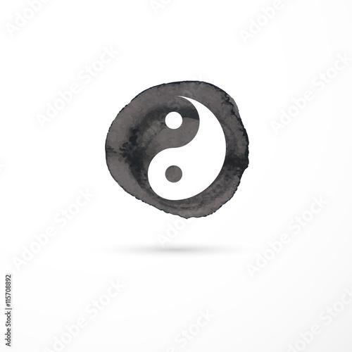 Fotografie, Obraz  Alternative medicine and martial, yin yang concept - vector watercolor icon