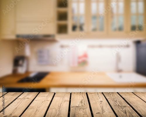 Wooden Counter Top With Kitchen Cabinet