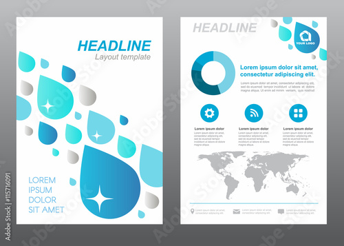 Layout Flyer Template Size A4 Cover Page Blue Drop Water Rain Abstract Vector Design