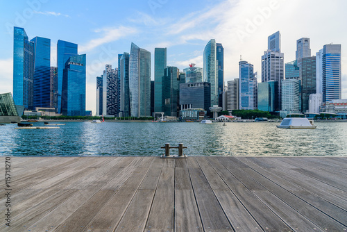 Photo  Singapore city skyline of business district downtown in daytime.