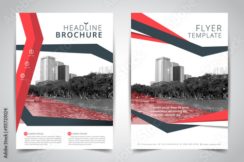 red annual report brochure flyer design vector  leaflet