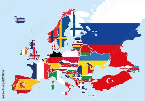 mapa-europy-zabarwiona-flagami-kazdego-kraju