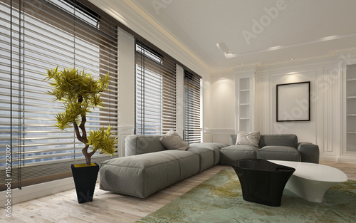 Obraz Fancy apartment living room interior with blinds - fototapety do salonu