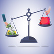 scale balance of money and love. - vector illustration