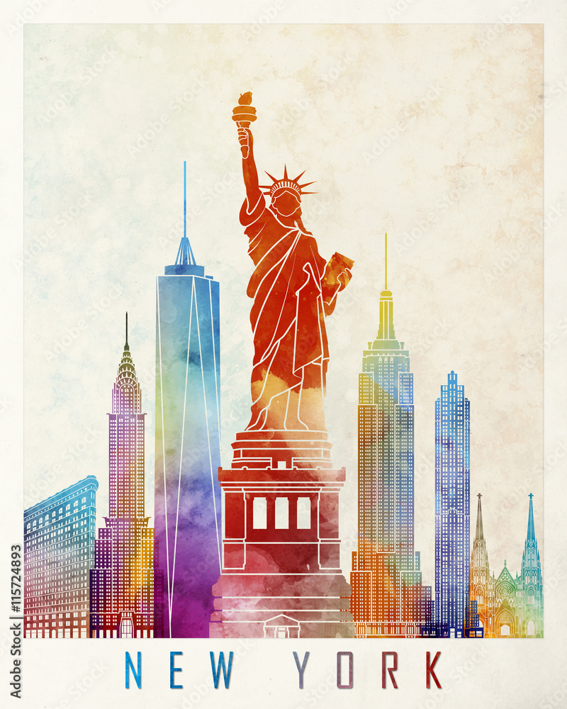 Fototapety, obrazy: New York landmarks watercolor poster