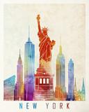 Fototapeta Nowy Jork - New York landmarks watercolor poster
