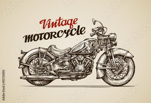 Vintage motorcycle. Hand drawn motorbike. Vector illustration