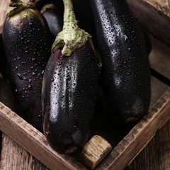 Fresh eggplants on dark wooden background.. Vegetarian food