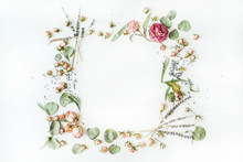 Wreath Frame With Roses, Lavender, Branches, Leaves And Petals Isolated On White Background. Flat Lay, Overhead View