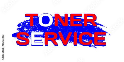 Logo Toner Service on grunge blue color brush stroke Canvas Print