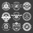 White Color Airplane Emblem Set