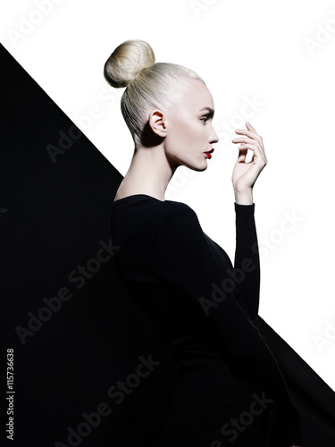 Acrylic Prints womenART Elegant blode in geometric black and white background