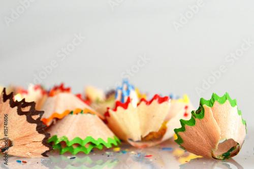Fotografie, Tablou  Pencil shavings on light background