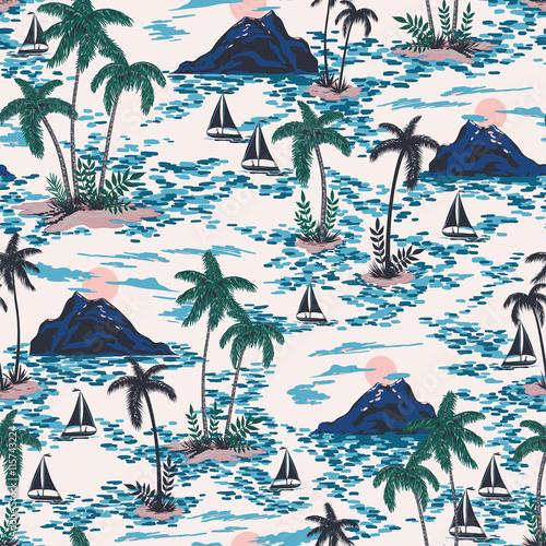 wektor-bezszwowe-retro-styl-wzor-hawaje-z-gory-zachod-slonca-palmy-lodzie-kolorowy-jasny-artystyczny-zwrotnik-fantasy-tlo-allover