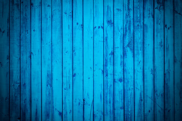 Blue  long planks. Texture of wood with vignette.