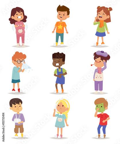 Fotografia  Children sick sickness disease little kids characters set
