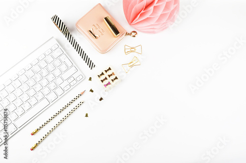 Valokuva  Table view office items, white background mock up, woman desk