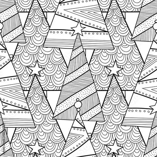 Stoffe zum Nähen Schwarz / weiß Muster mit Weihnachtsbäumen für Malbuch.