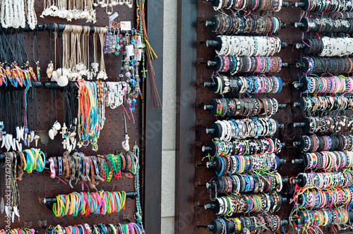 Spoed Foto op Canvas Graffiti collage Handmade African beadwork, bamgles and necklaces for sale at the beachfront