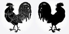 Fervent Rooster Black Silhouette