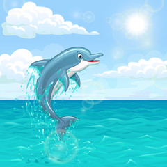 Fototapeta Delfin Cheerful dolphin in summer sea