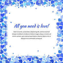 Cute Template With Many Blue Hearts, Square Illustration