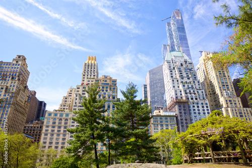Carta da parati Central Park with Manhattan skyscrapers in New York City