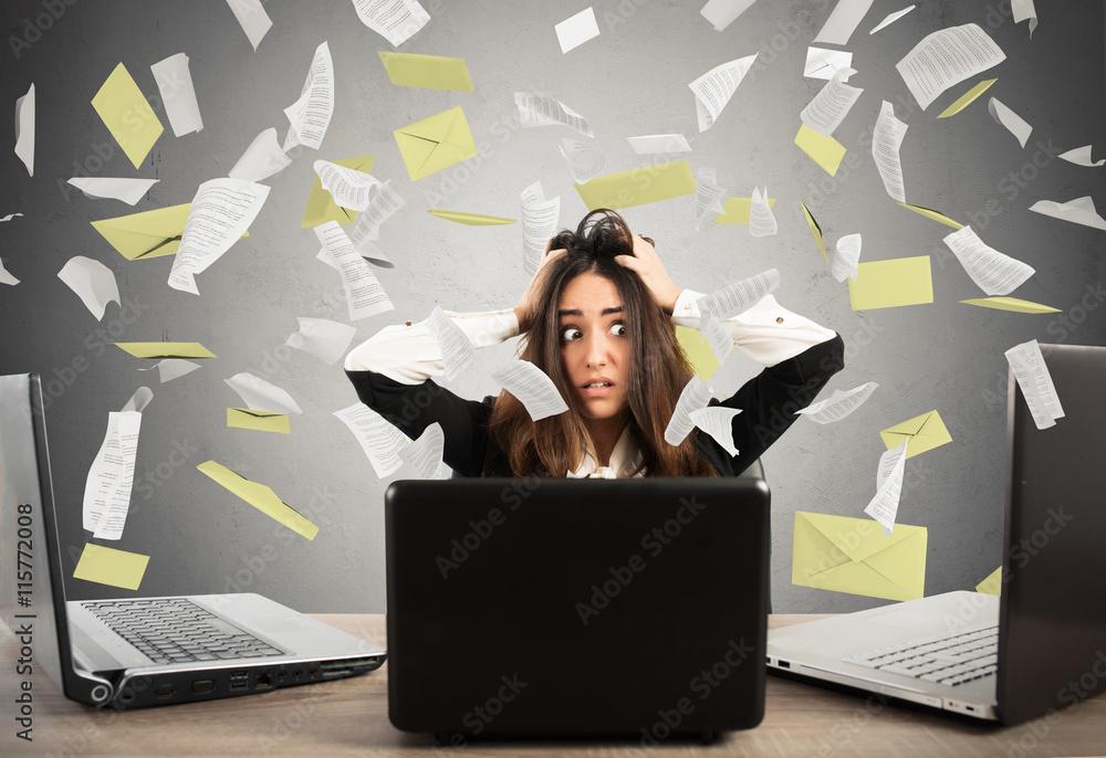 Fototapeta Businesswoman stressed by spam