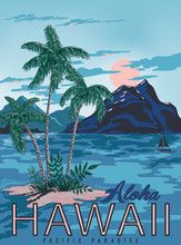 Vector Hawaii Poster With Vint...