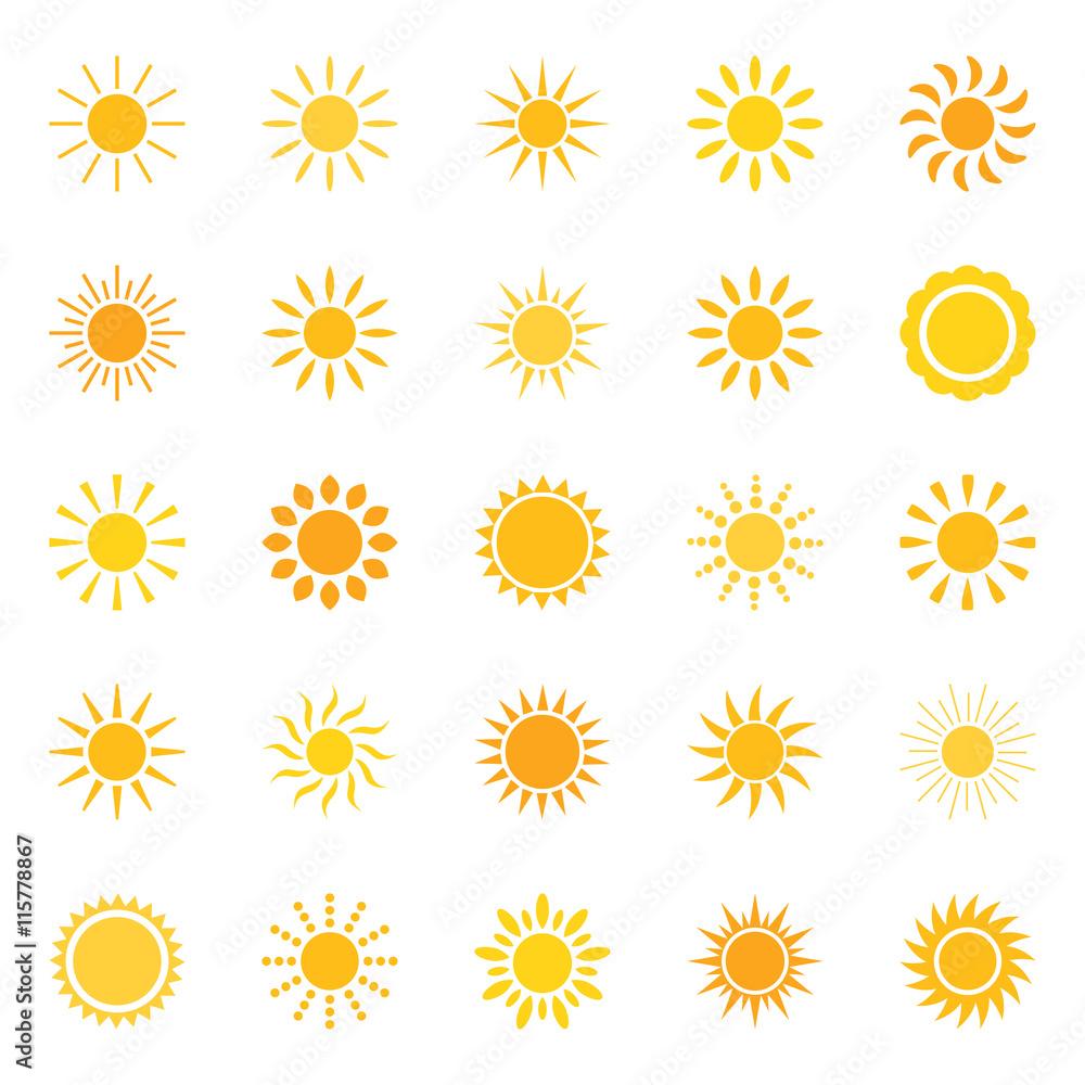 Fototapety, obrazy: Set of sun icons, vector illustration