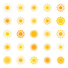 Set Of Sun Icons, Vector Illus...