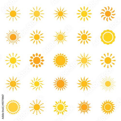 Set of sun icons, vector illustration Fototapete