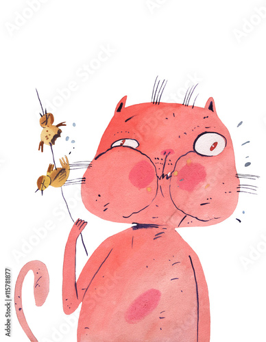 watercolor cat eat bird - 115781877