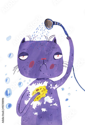 watercolor cat washes - 115781896