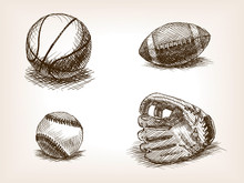 Ball And Sport Glove Hand Drawn Sketch Vector