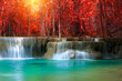 The landscape photo, Huay Mae Kamin Waterfall, beautiful waterfall in autumn forest, Kanchanaburi province, Thailand