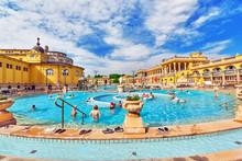 BUDAPEST, HUNGARY- MAY 05,2016: Courtyard Of Szechenyi Baths, Hu