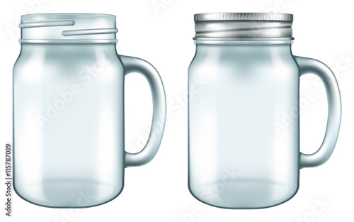 Mason Jar Mug In Two Versions With And Without The Lid Vector