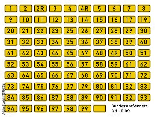 Bundesstraßennetz B 1 - B 99 Poster