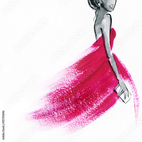 Fotografía  woman with elegant dress .abstract watercolor .fashion background