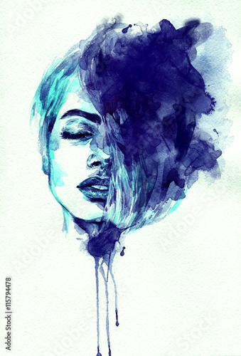 Garden Poster Watercolor Face beautiful woman face. abstract watercolor. fashion illustration